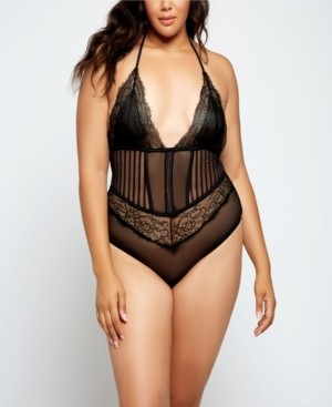 iCollection Gwen Lace and Striped Mesh Lace Up Bodysuit