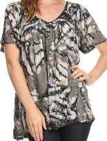 Sakkas 16780 - Laylah Long Wide Short Sleeve Embroidery Lace Sequin Blouse Shirt Tunic Top - OSP