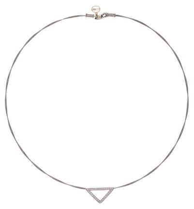 Alor Diamond Detail Open Triangle Charm Necklace - 0.26 ctw