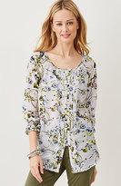 J. Jill Pintucked Cotton & Silk Floral Top