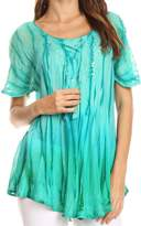 Sakkas 17782 - Siri Ombre Tie Dye Embroidered Sheer Cap Sleeve Relaxed Fit Tunic Top - OS