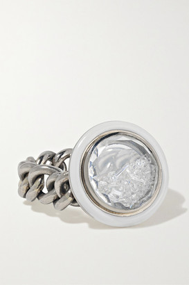 Moritz Glik 18-karat Gray Gold Palladium, Enamel, Sapphire Crystal And Diamond Ring - Silver
