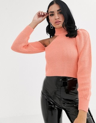 Asos Design DESIGN cut out one sleeve sweater with high neck-Orange