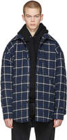 Balenciaga Navy Oversized Plaid Flannel Shirt