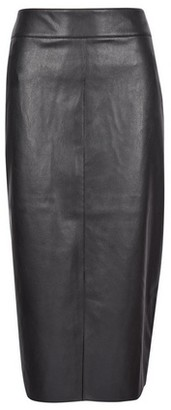 Dorothy Perkins Womens Tall Black Pu Midi Skirt, Black