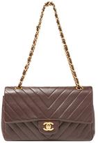 Chanel Vintage Brown Chevron Quilted Lambskin Flap Medium