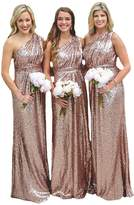D.W.U One Shoulder Sequin Long Bridesmaid Dresses Prom Formal Party Gowns US