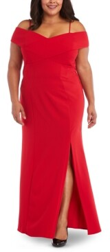 Night Way Nightway Plus Size Portrait-Collar Scuba Gown