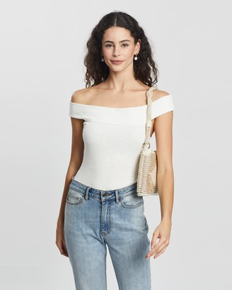 Atmos & Here Atmos&Here - Women's White Off The Shoulder Tops - Aubry Off Shoulder Bodysuit - Size 6 at The Iconic