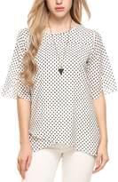 Meaneor Women Summer Chiffon Polka Dot Ruffle Sleeve Wear to Work Blouse Shirt XL