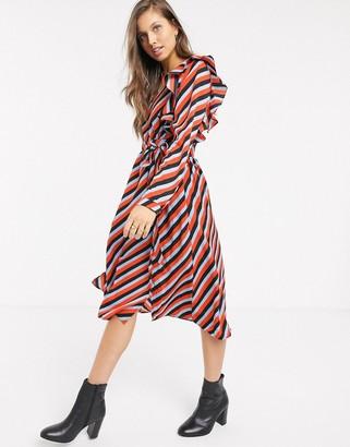 Glamorous long sleeve midi tea dress in stripe