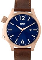 EDWIN Watch Blue Dial With Brown Leather Band Brook