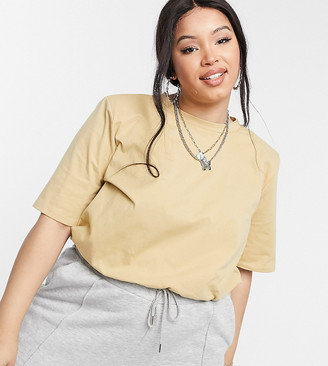 Collusion Plus padded shoulder t-shirt body in tan