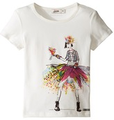 Junior Gaultier Top with Image of Girl in Denim Jacket and Multicolored Skirt Girl's Clothing