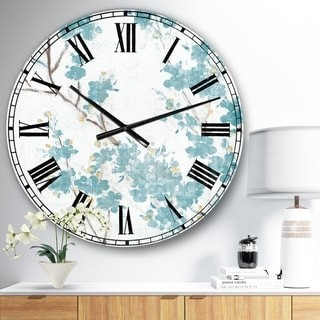 Design Art Designart 'Teal Cherry Blossoms II' Traditional Floral Large Wall CLock