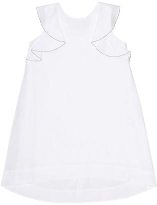 BRUNELLO CUCINELLI KIDS Ruffled cotton-blend dress