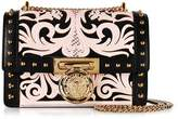 Balmain B.Box 20 Pink/Black Western Pattern Smooth Leather Flap Bag w/Studs