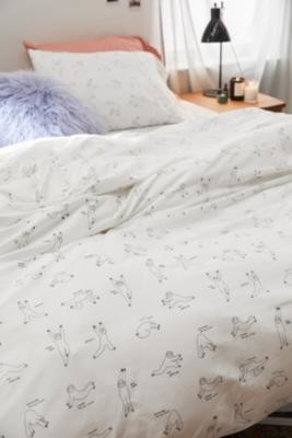 Urban Outfitters Yoga Sloth Duvet Cover Set - White SINGLE at