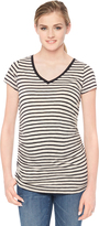 Motherhood Striped Side Ruched Maternity T Shirt