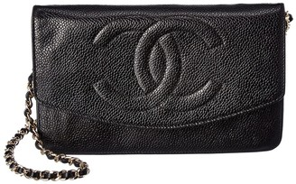 Chanel Black Caviar Leather Timeless Wallet On Chain