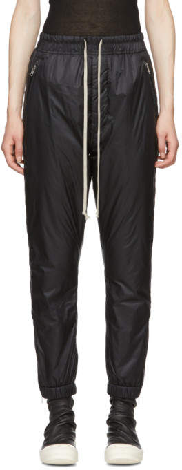 Rick Owens Black Nylon Track Pants