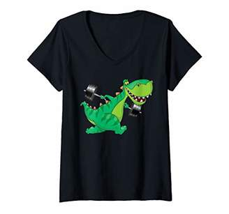 Womens Funny Weightlifting T Rex Dinosaur Doing Squats Gym Gifts V-Neck T-Shirt