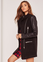 Missguided Faux Leather Sleeved Collarless Biker Jacket Black