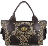 Mulberry Grommet Trimmed Leather Tote