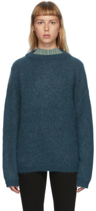 Acne Studios Blue Wool and Mohair Oversized Sweater