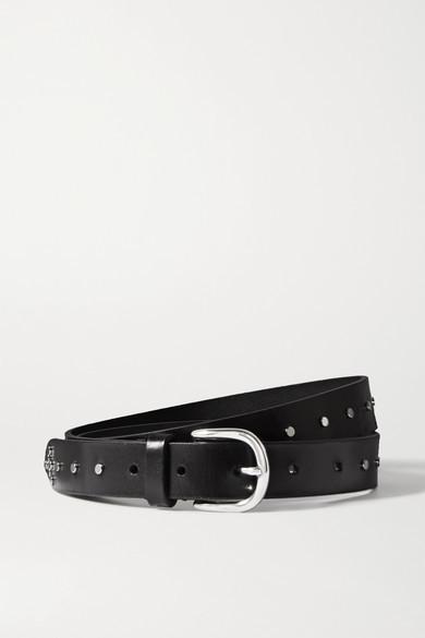 Isabel Marant Zap Studded Leather Belt - Black