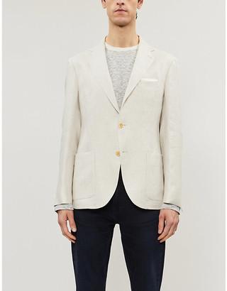 Eleventy Single-breasted slim-fit linen blazer
