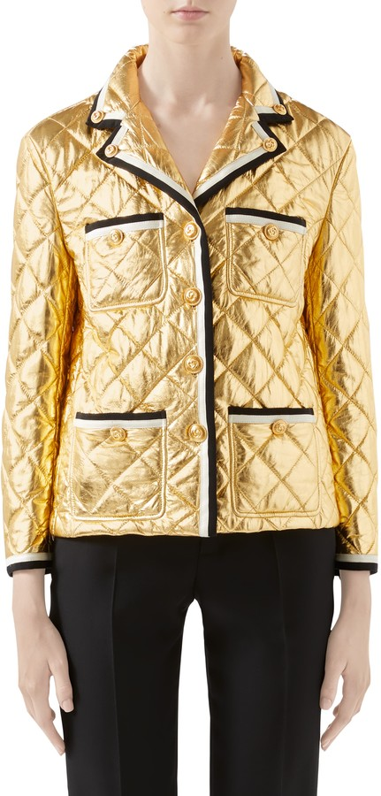 c9e5d561f Quilted Metallic Leather Jacket