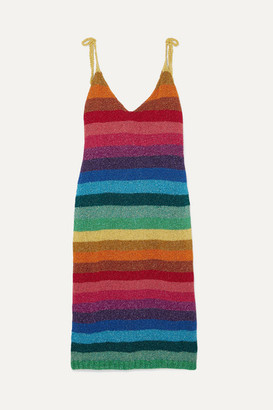 Rose Carmine - Metallic Crochet-knit Mini Dress - Blue