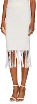 Jonathan Simkhai Cotton Fringe Trim Pencil Skirt