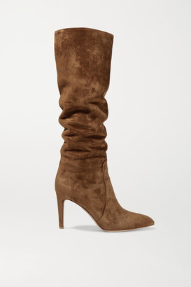 Gianvito Rossi 85 Suede Knee Boots - Brown