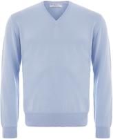 Johnstons of Elgin Light Blue Merino V-Neck Sweater