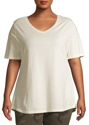 Terra & Sky Women's Plus Size Short Sleeve V-Neck T-Shirt