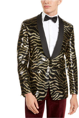 Tallia Men Slim-Fit Black Zebra Sequin Dinner Jacket