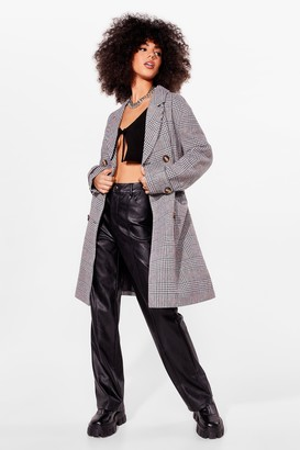Nasty Gal Womens Totally Checked Out Double Breasted Trench Coat - Grey