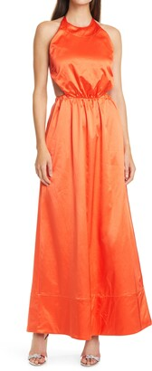 STAUD Sidney Halter Neck Maxi Dress