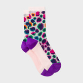 Paul Smith Women's Light Pink Leopard Motif Semi-Sheer Socks