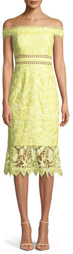 Aidan Mattox Scalloped Off-the-Shoulder Lace Cocktail Dress