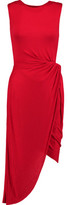 Bailey 44 Ruched Twist-Front Stretch-Jersey Dress
