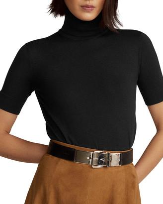 Ralph Lauren Cashmere Jersey Short-Sleeve Turtleneck Sweater