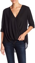 Lush Surplice Draped High/Low Blouse