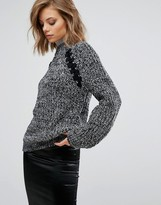 J.o.a. Oversized Chunky Sweater In Space Yarn With Lace Up Detail