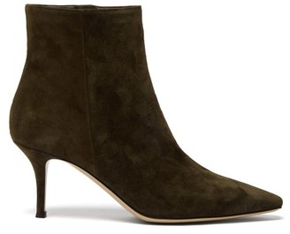 Gianvito Rossi Camoscio 70 Point-toe Suede Ankle Boots - Womens - Khaki
