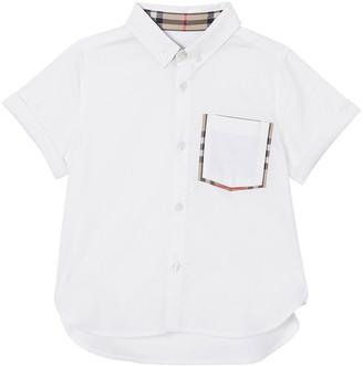 Burberry Boy's Harry Button Front Shirt w/ Check Trim Pocket, Size 3-14