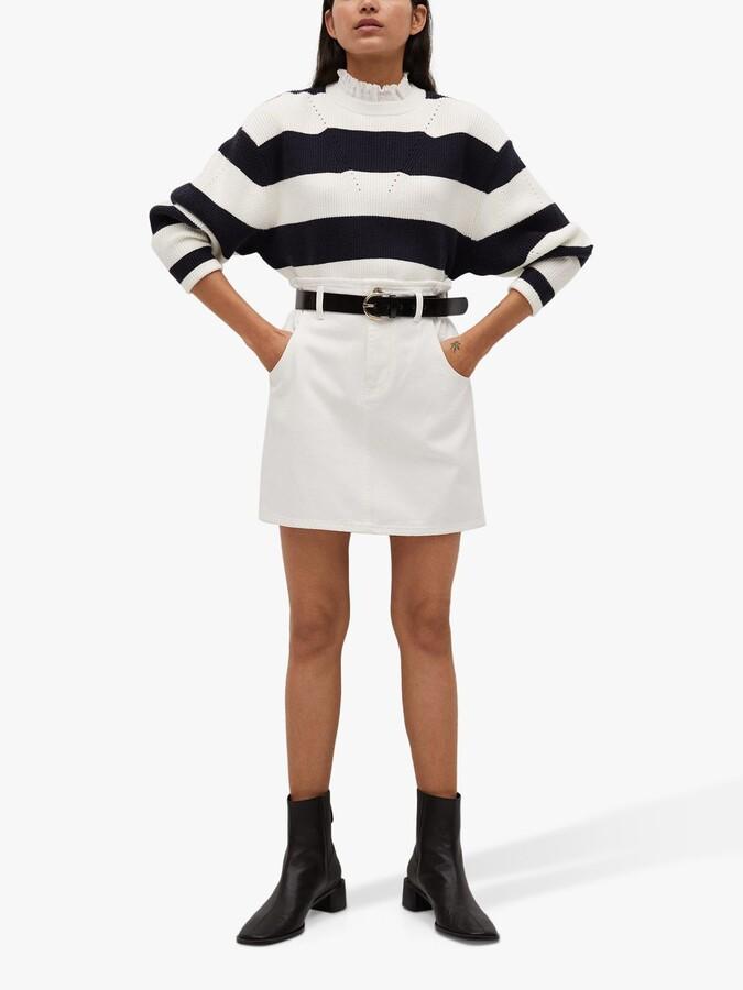 Thumbnail for your product : MANGO Elasticated Denim Mini Skirt, White