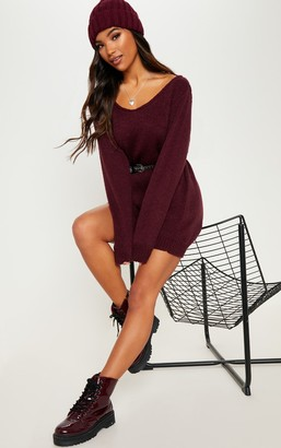SWAGGER Burgundy Soft Knitted Off the Shoulder Mini Dress